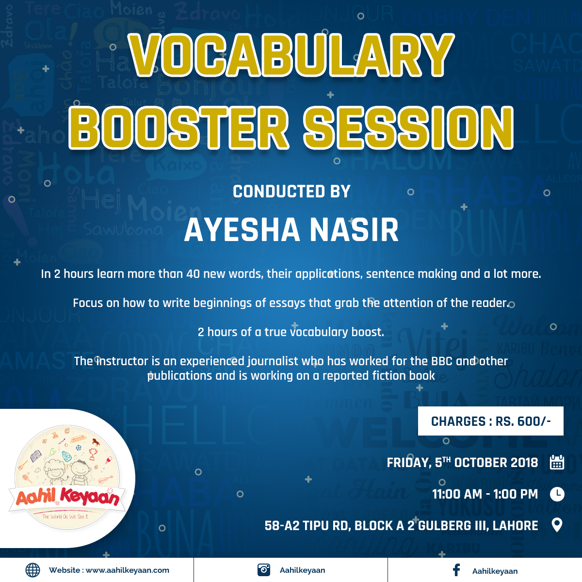 Vocabulary Booster Session Facebook Post Design