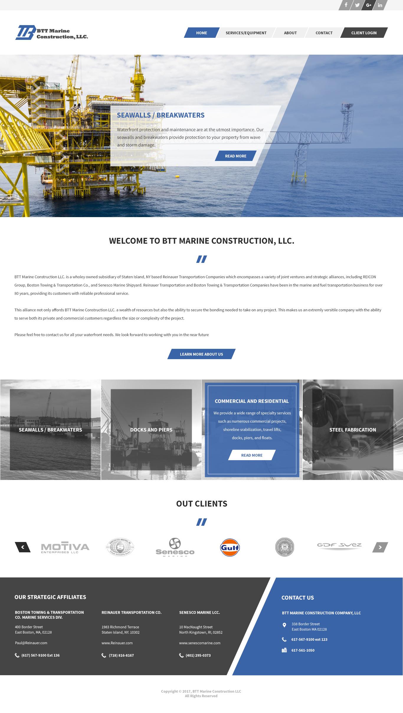BTT Marine Construction - Homepage Design