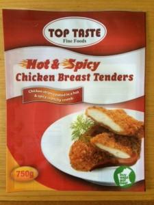 Hot & Spicy Chicken Breast Tenders packaging design for Top Taste Australia